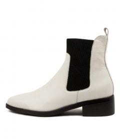Geetee Mo Winter White Black Heel Leather