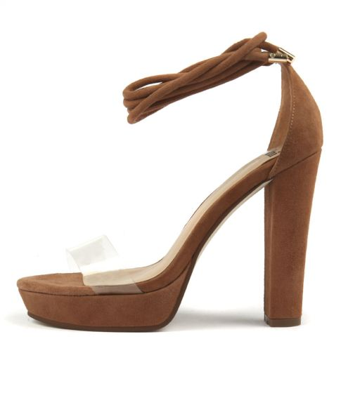Minette Clear Dk Nude Vinylite Suede by Mollini