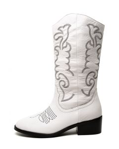ZOELLE WHITE BLACK EMB LEATHER